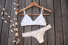 Lace bralette and lace thong Lace Bralette, Swimwear, Tops, Fashion, Bathing Suits, Moda, Swimsuits, La Mode, Shell Tops