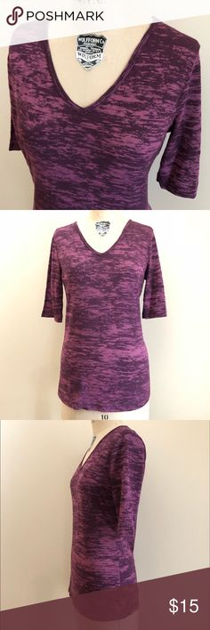 """Sledge Purple V Neck Two Tone Short Sleeve Tee Shades of purple soft comfy tee made in the USA by Sledge. Measures about 18 1/2"""" across the chest and 28"""" from shoulder to hem. All measurements are approximate taken by hand. Size S. From Nordstrom. Like new condition. Fun colored tee looks great alone or layered! Great arm coverage too. 🚫Trades🚫PP. Nordstrom Tops Tees - Short Sleeve"""
