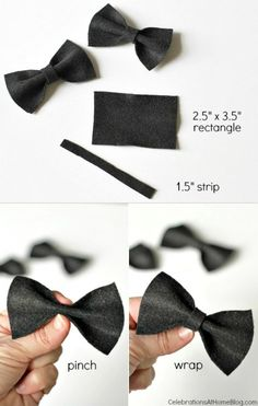 how to make mini bowties for party decor #diy