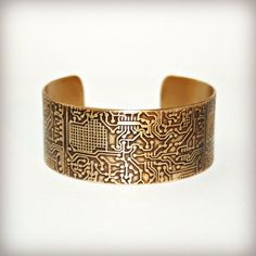 BRASS CUFF BRACELET - Circuit Board - Etched Solid 18 gauge Brass Cuff Bracelet - Handmade - Can Be Personalized with Your Own Designs! on Etsy, $30.00