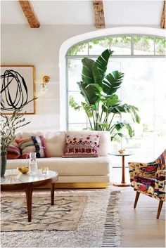Love this bright boho look – A mix of mid-century modern, bohemian, and industrial interior style. Home and apartment decor, decoration ideas, home de… – Living room Boho Living Room, Living Room Interior, Living Room Furniture, Interior Livingroom, Bohemian Living, Modern Furniture, Bright Living Room Decor, Antique Furniture, Outdoor Furniture