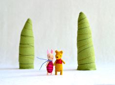hundred acre wood mini set  piglet and pooh bff by MountRoyalMint. Etsy.