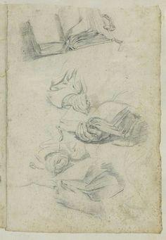 ANONYME FLAMAND XVIIè s Ecole flamande Etude de mains tenant un livre et écrivant, et étude d'un livre ouvert Sculpture, Belle Photo, Sketches, Paintings, Illustrations, Art, Open Book, Anonymous, Hands