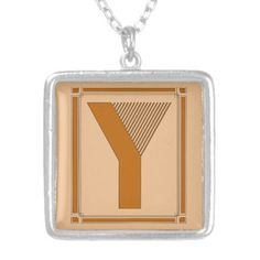 Straight lines art deco with monogram, letter Y Personalized Necklace