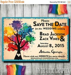 20% OFF SALE Love Wins, Gay Pride, Gay Marriage, Rainbow Tree Wedding Save the Date, Same Sex Wedding, Gay Wedding Save the Date, Printable