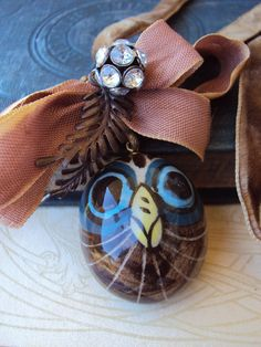 Vintage Owl Charm Necklace with Antique by primitivepincushion, $39.99