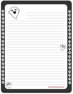 On this page I am sharing Free Printable Halloween Writing Paper. This paper is lined and it is decorated with various Halloween related graphics. Art Halloween, Halloween Stories, Halloween Supplies, Halloween Prints, Printable Lined Paper, Free Printable Stationery, Templates Printable Free, Paper Templates, Halloween Coloring Pages Printable