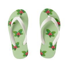 Holly design white strap green Kids Flip flops Girls Flip Flops, Flipping, Keep It Cleaner, Holiday Cards, Slip On, Green, Unique, Pattern, Kids