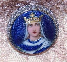 ANTIQUE VICTORIAN French 18K Gold, Enamel & Rose Cut Diamond Pin/Brooch - Queen of France!