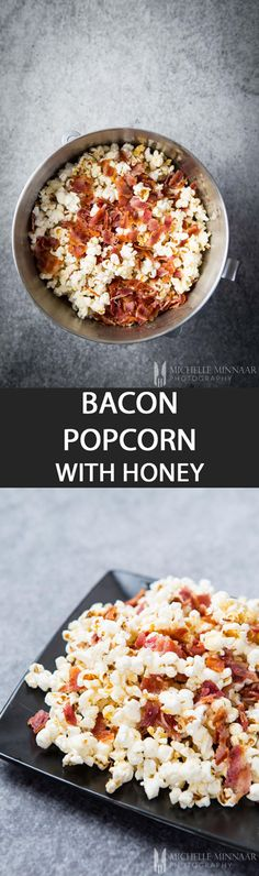 Bacon Popcorn with Honey {NEW RECIPE} Bacon popcorn drizzled honey is the way to go if you like salty and sweet together. Drizzle the bacon grease over the popcorn for extra decadence! Bacon Popcorn, Popcorn Recipes, Popcorn Flavours, Pop Popcorn, Grilling Recipes, Meat Recipes, Gourmet Recipes, English Food, Pork Dishes