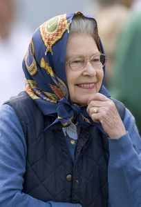 The Queen at the Windsor Horse Show. The original head scarf wearer, very English you know!