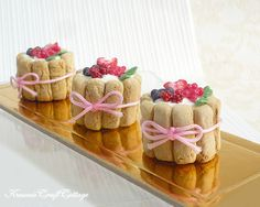 Miniature Food Charlotte Russe Cake Pastry by KawaiiCraftCottage Mini Charlotte, Charlotte Cake, Quick Dessert Recipes, Cake Recipes, Charlotte Russe Dessert, Berry Tart, Doll Food, Fake Food, Miniature Food