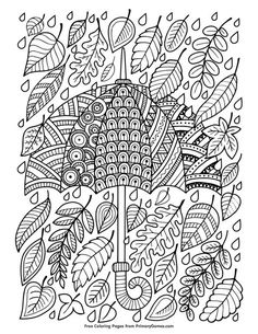 VISIT FOR MORE Hand draw doodle coloring page for adult. I love Autumn. An Umbrella and Leaves. Raster copy The post Hand draw doodle coloring page for adult. I love Autumn. An Umbrella and Leaves. Fall Coloring Pages, Doodle Coloring, Printable Coloring Pages, Coloring Sheets, Coloring Pages For Kids, Coloring Books, Kids Coloring, Halloween Illustration, Art Plastique
