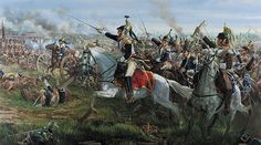 """""""La Charge"""" by Mark Churms - Donop's cavalry at the battle of Waterloo, Napoleon's French and Cuirassier regiments from his reserve heavy cavalry corps are lead into action by their brigade commander ( General Donop ). Waterloo 1815, Battle Of Waterloo, Military Art, Military History, Le Colonel Chabert, Napoleon French, Bataille De Waterloo, French Pictures, Seven Years' War"""