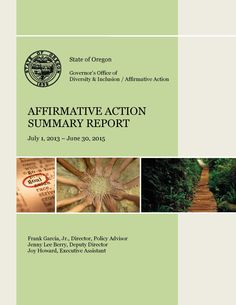 Affirmative Action Summary, by the Governor's Office of Diversity & Inclusion