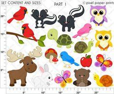 Forest Friends Clip art and Digital paper set by pixelpaperprints