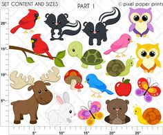 Forest Friends Clip art and Digital paper set от pixelpaperprints