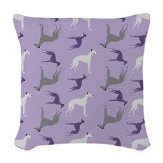 Greyhounds on Purple Woven Throw Pillow on CafePress.com