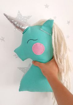 Unicorn plush pillow nursery decor mint unicorn with by missJoyka