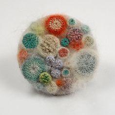 microorganisms in petri dish- elin crochet art Crochet Brooch, Freeform Crochet, Crochet Art, Textile Jewelry, Textile Art, Jewellery, Bts Mode, Growth And Decay, Bio Art