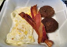 Low Carb take-out from a local place called Chicken Chef - fried eggs, bacon & sausage. :-) Easy!  #lowcarb #atkins
