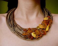 Twine, beads, one evening, and beauty of finish. Amber Jewelry, Clay Jewelry, Statement Jewelry, Jewelry Crafts, Jewelry Art, Beaded Jewelry, Jewelry Necklaces, Beaded Necklace, Jewelry Design