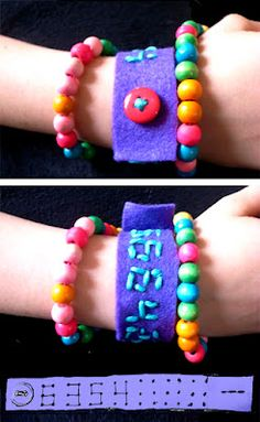 felt phone number bracelets - fun summer craft for kids