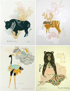 animal illustrations: Leah Duncan-- http://www.etsy.com/shop/leahduncan?ref=seller_info #etsy #design #inspiration