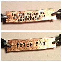 To die would be an awfully big adventure Peter pan two sided copper adjustable cord bracelet on Etsy, $9.99