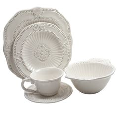 @Overstock.com - American Atelier 20-piece Baroque Dinnerware Set  - Create an elegant table-setting with this American Atelier baroque dinnerware set. This earthenware service for four features ornate detailing and a flat white color.  http://www.overstock.com/Home-Garden/American-Atelier-20-piece-Baroque-Dinnerware-Set/5197545/product.html?CID=214117 $69.99
