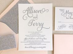 The Stargazer Suite, Modern Letterpress Wedding Invitation, Sample, Silver, Glitter, Blush Pink, White, Formal, Elegant, Calligraphy, Script by DinglewoodDesign on Etsy https://www.etsy.com/listing/217345295/the-stargazer-suite-modern-letterpress