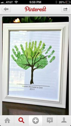 Fathers day craft - Use your little one's hand prints to make the leaves then frame the print for a stylish and personal gift this year.