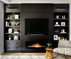 Ikea Wall Units, Bedroom Wall Units, Living Room Wall Units, Dark Living Rooms, Living Room Tv Unit Designs, Home Living Room, Living Room Decor, Built In Tv Wall Unit, Wall Units With Fireplace
