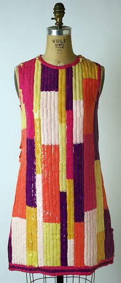 1968 Chloe for Henri Bendel Evening dress Metropolitan of Museum, NY. To see more museum dresses go to www.vintagefashionandart.com.