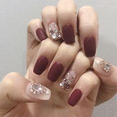 Pin by Hayley on Nails. Gem Nails, Love Nails, Hair And Nails, Korean Nail Art, Korean Nails, Japanese Nail Art, Crystal Nails, Creative Nails, Cool Nail Designs
