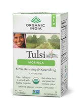 A cup of ORGANIC INDIA Tulsi Moringa Tea provides a stimulant-free energy source to carry you through your day while at the same time protecting your cells from damaging free-radicals, and increasing vitality and long-term health. We can all drink to that!