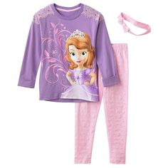 DISNEY Princess Girls Sofia The First Top Legging Headband Set Outfit Size 6 NWT #Disney #Outfit #CasualEveryday