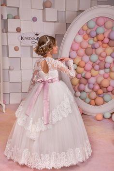 Lace Ivory Flower Girl Dress Wedding Party Birthday