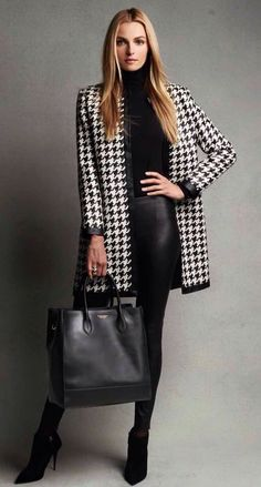 Herringbone jacket over black  Pinterest @ellebelle317