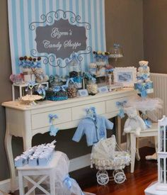 Blue and Gray Striped Baby Boy Baby Shower Printable Party Package. $37.50, via Etsy.