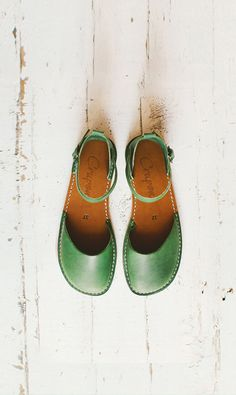 Greenery Sandals Leather Shoes Summer Shoes Leather