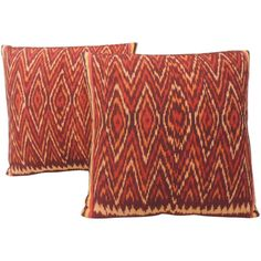 Pair of Red and Orange Vintage Ikat Woven Pillows | From a unique collection of antique and modern pillows and throws at https://www.1stdibs.com/furniture/more-furniture-collectibles/pillows-throws/