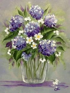 Beautiful purple flowers in glass vase, floral painting.