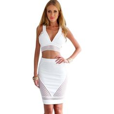 2 Piece Bandage Dress V-neck Sexy Clubwear