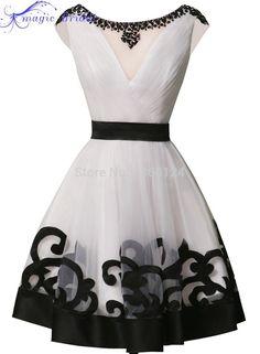 Aliexpress.com: Comprar Elegante Real Fotos Scoop Escote Corto Moldeado Blanco Y Negro Vestidos de Baile Envío Rápido 2016 Pequeño Negro Vestidos de Baile Barato de vestido de 3x fiable proveedores en Magic Bridal Wedding Dresses