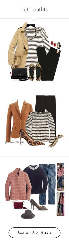 cute outfits by dauchka22 ❤ liked on Polyvore featuring J.Crew, Burberry, French Connection, Tory Burch, Kendra Scott, MICHAEL Michael Kors, Kate Spade, MAC Cosmetics, womens clothing and women