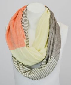 Loving this Orange Stripe & Color Block Infinity Scarf on #zulily! #zulilyfinds