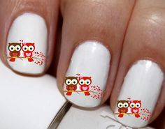 20 pc Valentines Day Love Birds Love Owls Hearts Nail Art Nail Decals Nail Stickers Lowest Price On Etsy #cg7379na