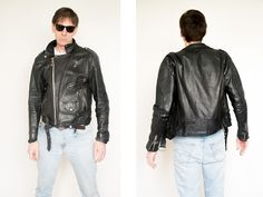 Punk black Genuine Leather Jacket Original authentic Vintage from 1970's Distressed Classic Ramones Motorcycle Bicker Marlon Brando