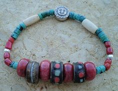 Bracelet Inlaid Wood Beads Turquoise Sponge Coral  by mizdarlin for $35.00
